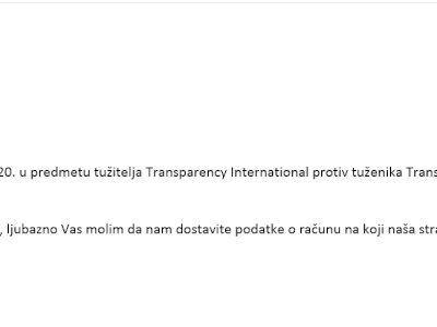 Pravomoćnom presudom Transparency International izgubio spor u Hrvatskoj